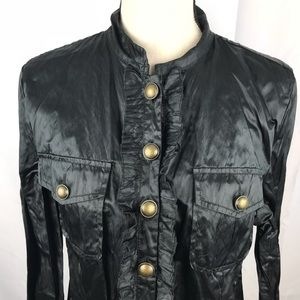 CHICOS 2 Large Waxed Military Jacket Black Light